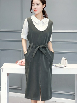 Ericdress OL Plain Scoop Belt Casual Dress