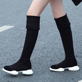 Ericdress Simple Black Sport Knee High Boots