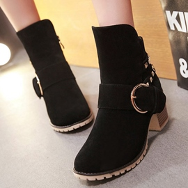 Ericdress Suede Square Heel Ankle Boots