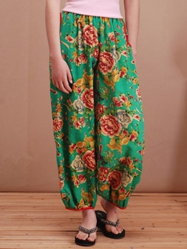 Ericdress Chinese Style Floral Print Pants