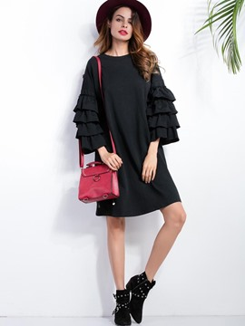 Ericdress Round Neck Ruffle Sleeve Casual Dress