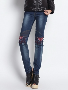 Ericdress Unique Floral Embroidery Jeans