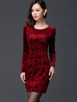 Ericdress Solid Color Round Collar Bodycon Dress