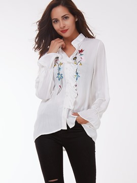 Ericdress White Floral Embroidery Blouse