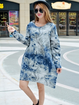 Ericdress Tie-Dye Round Neck Loose Casual Dress