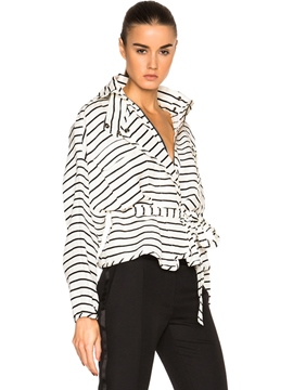 Ericdress Loose Batwing Stripped Jacket