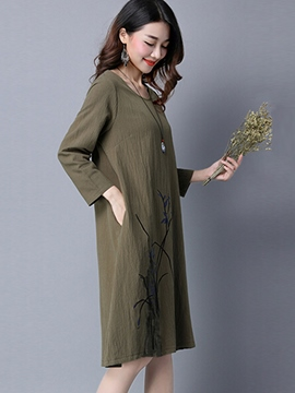 Ericdress Embroidery A-Line Round Neck Loose Casual Dress