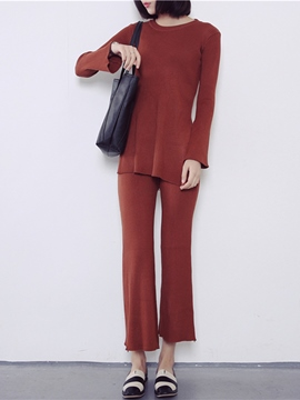 Ericdress Solid Color Comfortable Knitwear Suit