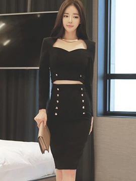 Ericdress Rivet Long Sleeve Bodycon Suit