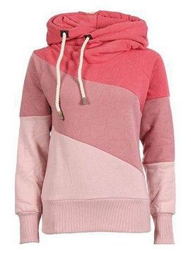 Ericdress Color Block Straight Asymmetric Hoodie