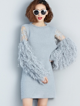 Ericdress Solid Color Patchwork Tassel Sweater Dress