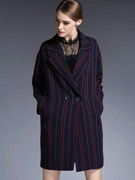 Ericdress Straight Stripped European Coat
