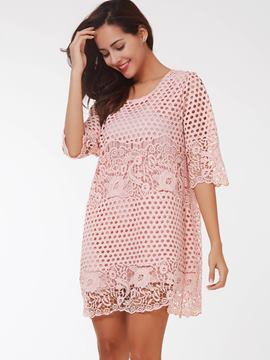 Ericdress Simple Polka Dots Hollow Double-Layer Casual Dresses