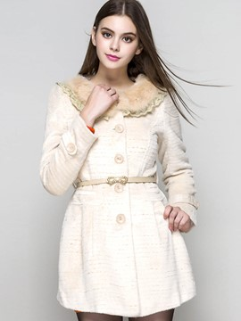 Ericdress Slim Solid Color Turn-Down Coat