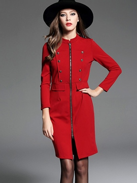 Ericdress Double-Breasted Stand Collar Zipper Sheath Dress
