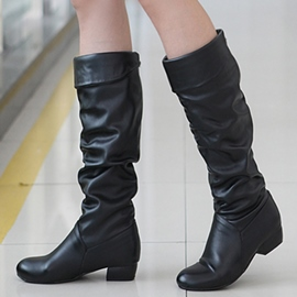 Ericdress Simple PU Square Heel Knee High Boots