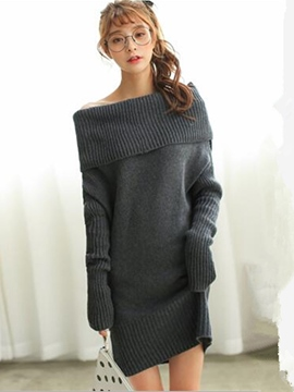Ericdress Solid Color Slash Neck Straight Sweater Dress