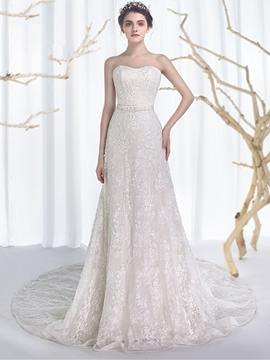 Ericdress Beautiful Beaded Sweetheart Lace Wedding Dress
