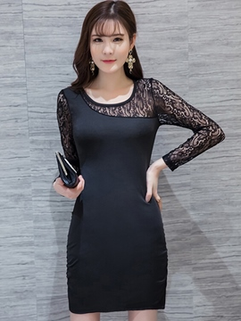 Ericdress Solid Color Lace Patchwork Round Neck Bodycon Dress