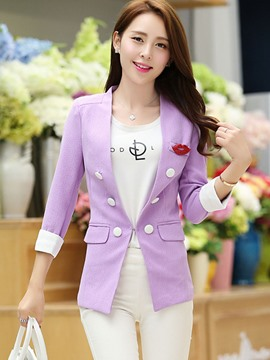 Ericdress Solid Color Double-Breasted Slim Blazer