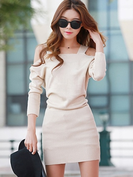 Ericdress Suspender Off-The-Shoulder Knitting Sweater Dress