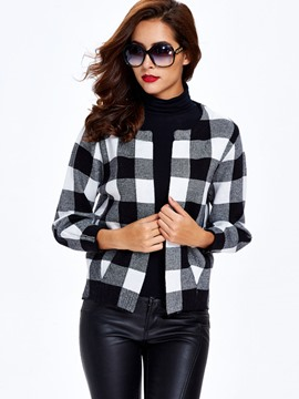 Ericdress Plaid Cardigan Crop Knitwear