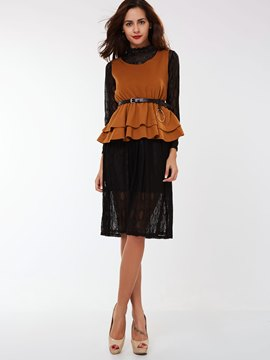 Ericdress Ladylike Lace Dress Suit
