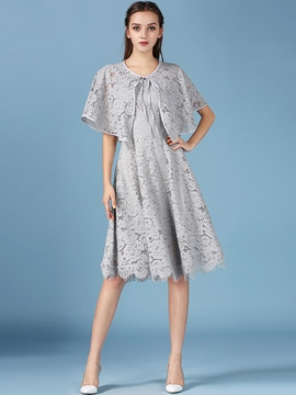 Ericdress Ladylike Lace Dress Leisure Suit