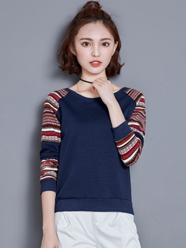 Ericdress Stripe Sleeve Ethnic T-Shirt