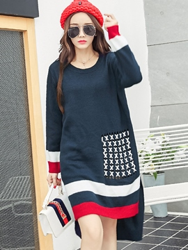 Ericdress Color Block Asymmetric Loose Sweater Dress