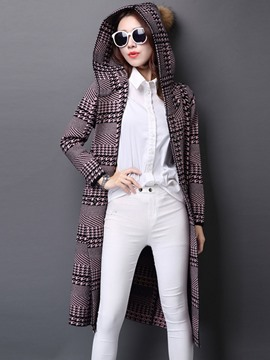 Ericdress Loose Plaid Hooded Casual Coat