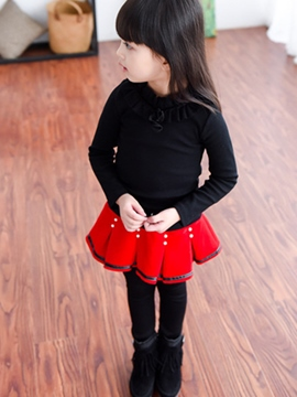 Ericdress Double-Layer Color Block Girl's Pantskirt