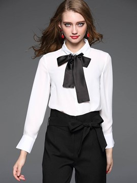 Ericdress Tie Bow Front Blouse