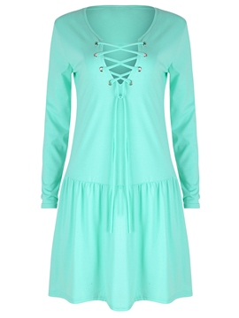 Ericdress Lace-Up Patchwork Pleated Casual Dress