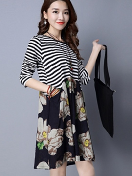 Ericdress Strip Floral Patchwork Casual Dress