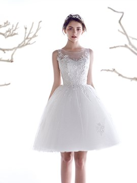 Ericdress Beautiful Appliques Scoop A Line Short Wedding Dress