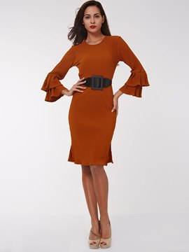 Ericdress Plain Flare Sleeve Split Sheath Dress