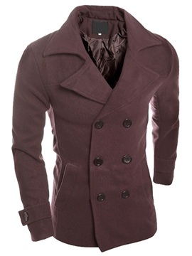 Ericdress Plain Double-Breasted Lapel Slim Men's Trench Coat