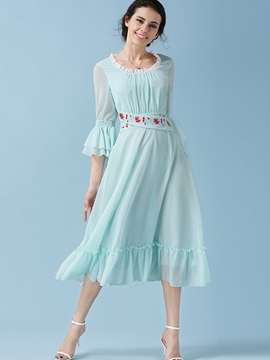 Ericdress Ruffle Sleeve Belt Patchwork Ruffled Collar Casual Dress