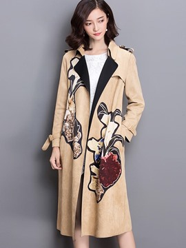 Ericdress Loose Printed Slim Trench Coat
