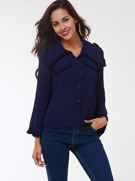 Ericdress Blue Fringe Trim Blouse