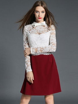 Ericdress Lace Hoolow Back Lapel Patchwork Casual Dress