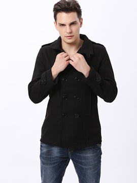 Ericdress Plain Double-Breasted Lapel Men's Windproof Woolen Coat
