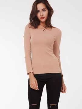 Ericdress Cross Strap Slim Casual T-Shirt