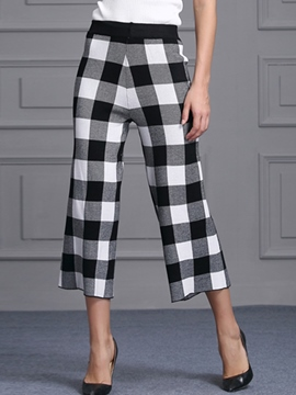 Ericdress Vintage Plaid Nine Points Pants