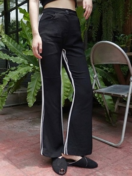 Ericdress Stripe Color Block High-Waist Full Length Pants