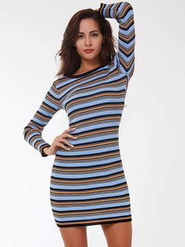 Ericdress Knitting?Strip Long Sleeve Bodycon Dress