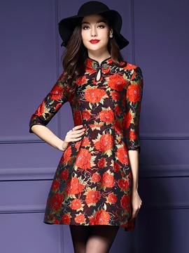 Ericdress Ethnic Stand Collar Casual Dress