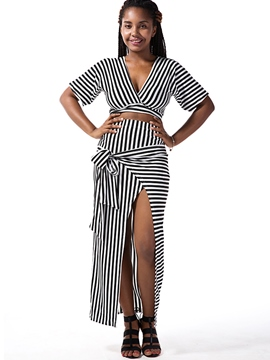 Ericdress Unique Asymmetric Stripe Skirt Suit