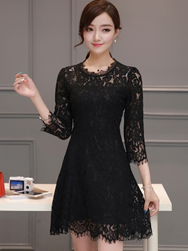Ericdress Lace Hoollow Solid Color Lace Dress